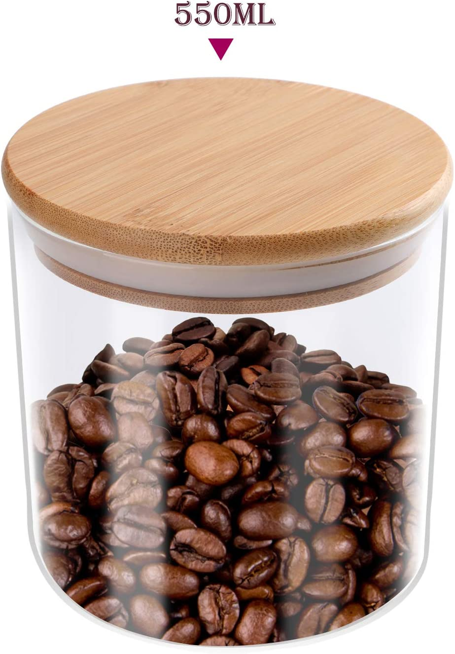 TRUSBER Food Storage Jar 18.6 Fl (550Ml) Glass, Airtight Bamboo Wooden Lid Clear Kitchen Container For Chocolate, Coffee, Flour, Candy, Sugar, Cookie, Spice And More