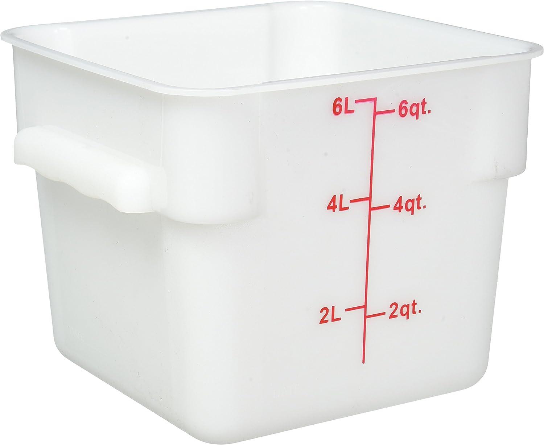 Winco Square Storage Container, 6-Quart, White