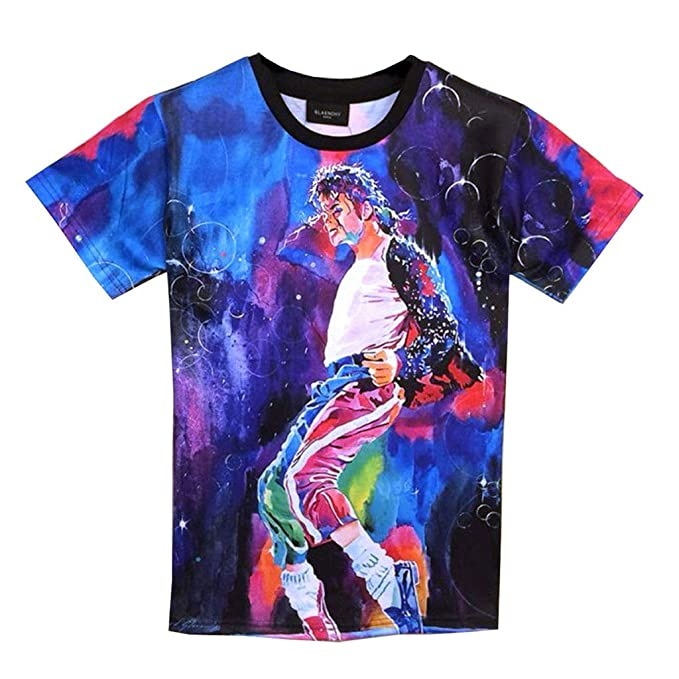 2e4b9231054 Catamaran Womens Michael Jackson TShirt Rock Star MJ 3d Tee T Shirts (M)