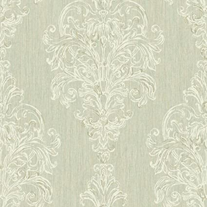 York Wallcoverings SH5563 Vintage Luxe New Damask Stripe Wallpaper Beige Blue Green