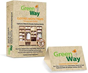 GreenWay Clothes Moth Traps (6 Boxes - 12 Traps and Lures) | Pheromone Attractant, Ready to Use | Heavy Duty Glue, Safe, Non-Toxic with No Insecticides or Odor, Eco Friendly, Kid and Pet Safe