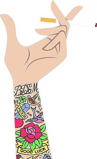 Amazon Com Smoking Hand With Cigarette Old School Tattoos Cartoon Vinyl Sticker Plain Background Automotive
