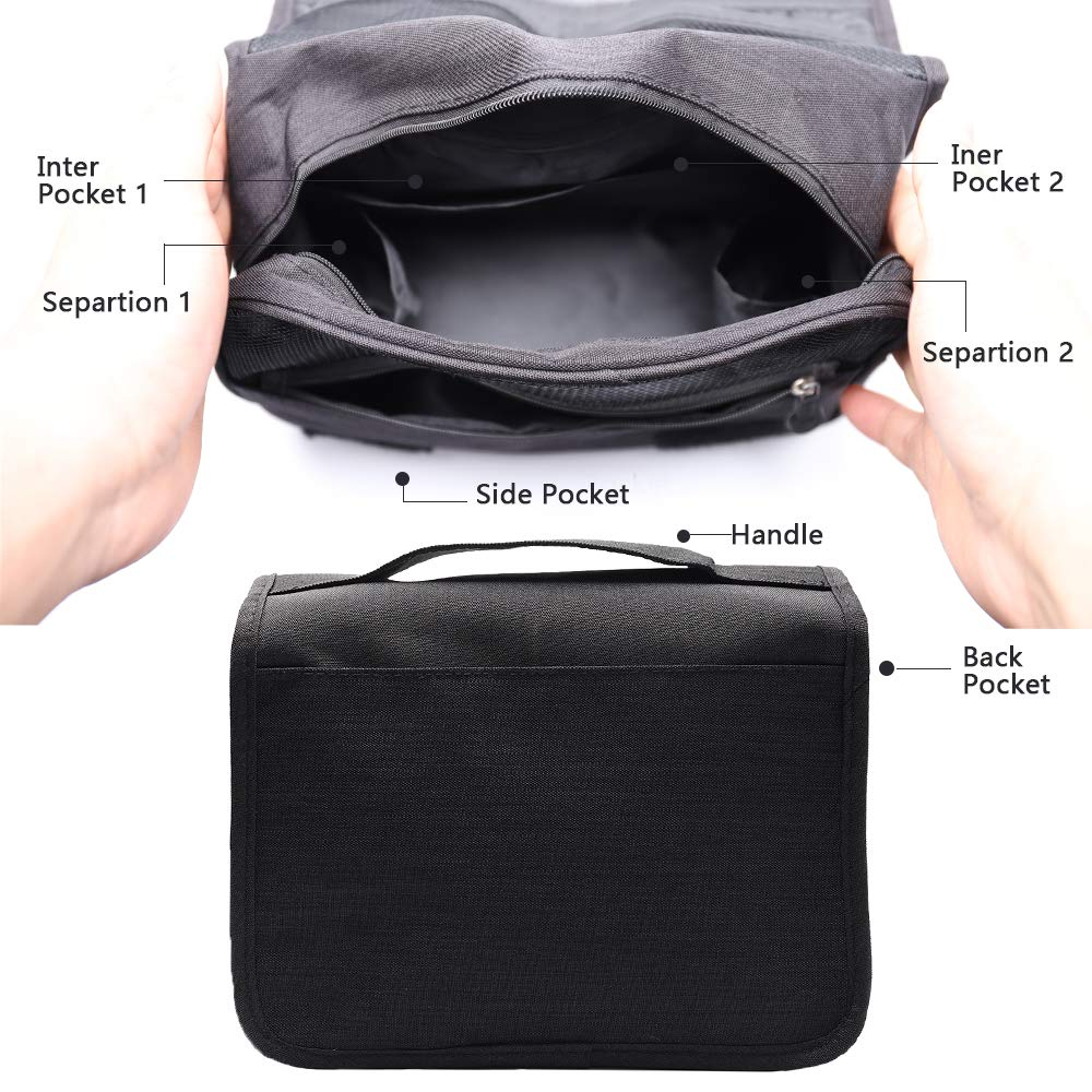 Hanging Toiletry Bag Water Resistant, Travel Wash Bags Cosmetic Bags with 8 Pouches, Bathroom Shower Organizer Portable Durable for Men and Women (Black)