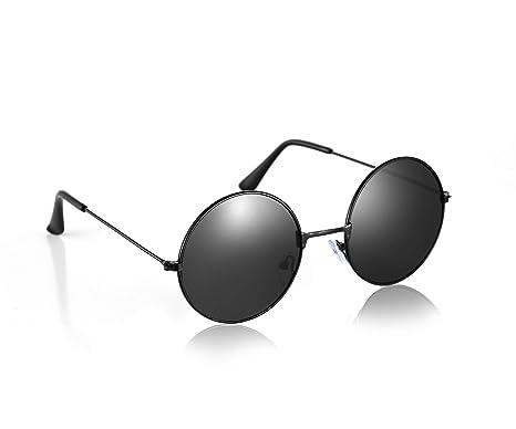 ce20373fcdba John Lennon Style Black Flat Lens Round Sunglasses UV400 Protection ...