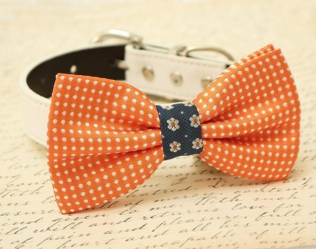 6d6932d3a12e Amazon.com: Orange Dog Bow Tie Collar, wedding dog accessory, Polka dots,  Flower Prints Burlap: Handmade