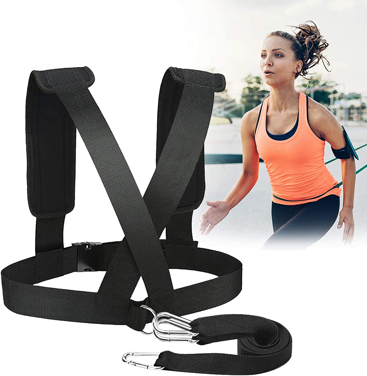 Workout Speed Harness Trainer Padded Shoulder Strap Push sled Broadsheet Prowler Sled Sled Harness Tire Pulling Harness Adjustable Weight Sleds for Training Sled Workout Equipment