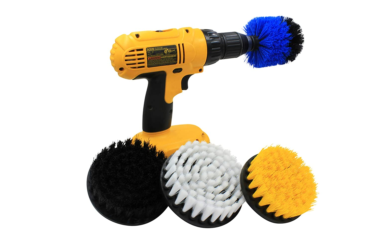 4 Piece Drill Brush Set to aid in Cleaning bathrooms, Kitchens, Grills, Grout, Tile, Carpet, Furniture, Floors and Much, Much More. *Drill not Included*