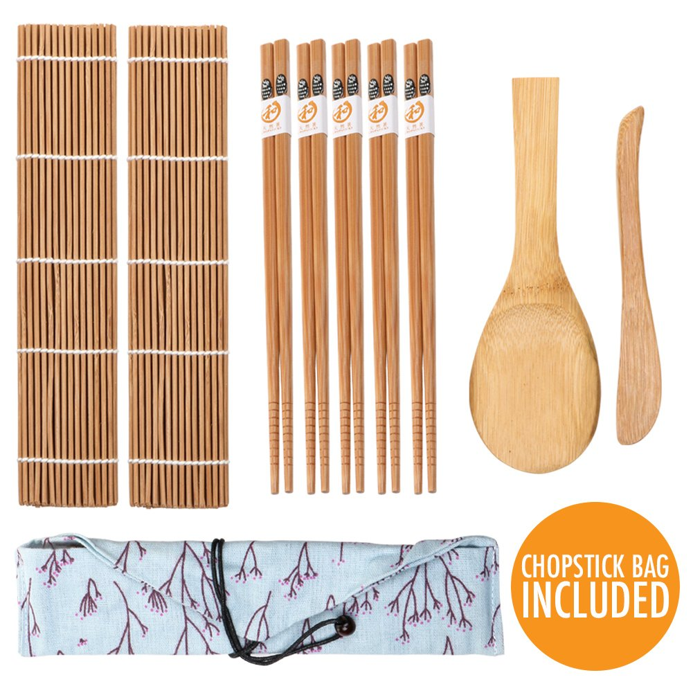 Sushi Making Kit, Bamboo Sushi Kit Maker with 2 Sushi Rolling Mat 1 Bamboo Rice Paddle 1 Rice Spreader 5 Pair Bamboo Chopsticks with Case, Mold Resistant Sushi Maker Kit for Beginner Professional