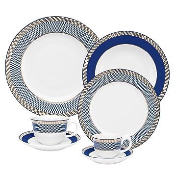 Oxford 7891361988136 42 Piece Flamingo Dinnerware Set, Op Art
