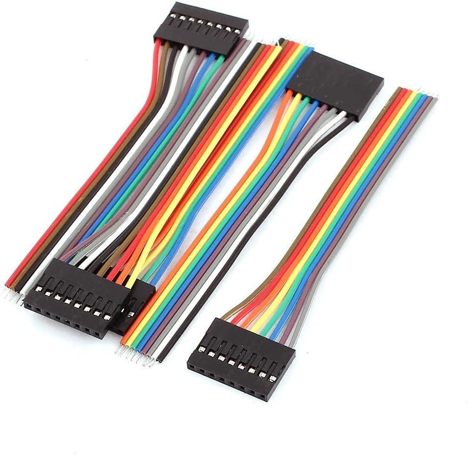 aexit 5 unidades hembra 8P Jumper Cables banda Cable Pi PIC Escalera Tabla DIY 10 cm de longitud: Amazon.es: Bricolaje y herramientas