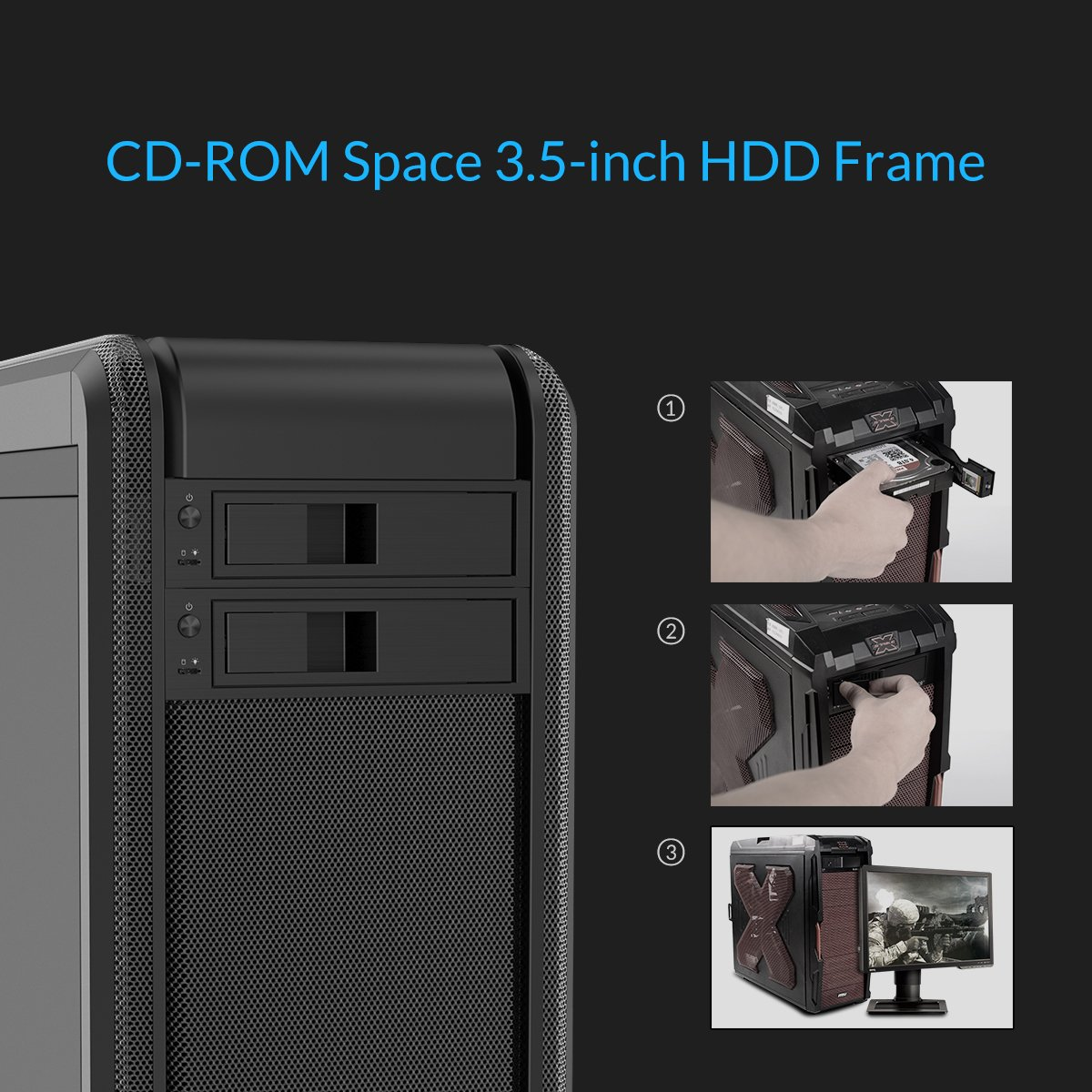 Orico 1106ss 525 Trayless Hot Swap Mobile Rack Cd Rom 3569s3 35 Inch Hdd Enclosure Internal Sata Hard Drive Ssd Adapter Black Computers Accessories