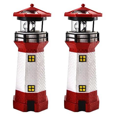 2er Set LED Solar Leuchtturm 28 cm | Garten Deko Leuchtfeuer Rot Weiß | Gartendeko Beleuchtung Mit Dämmerungssensor | Solarbe