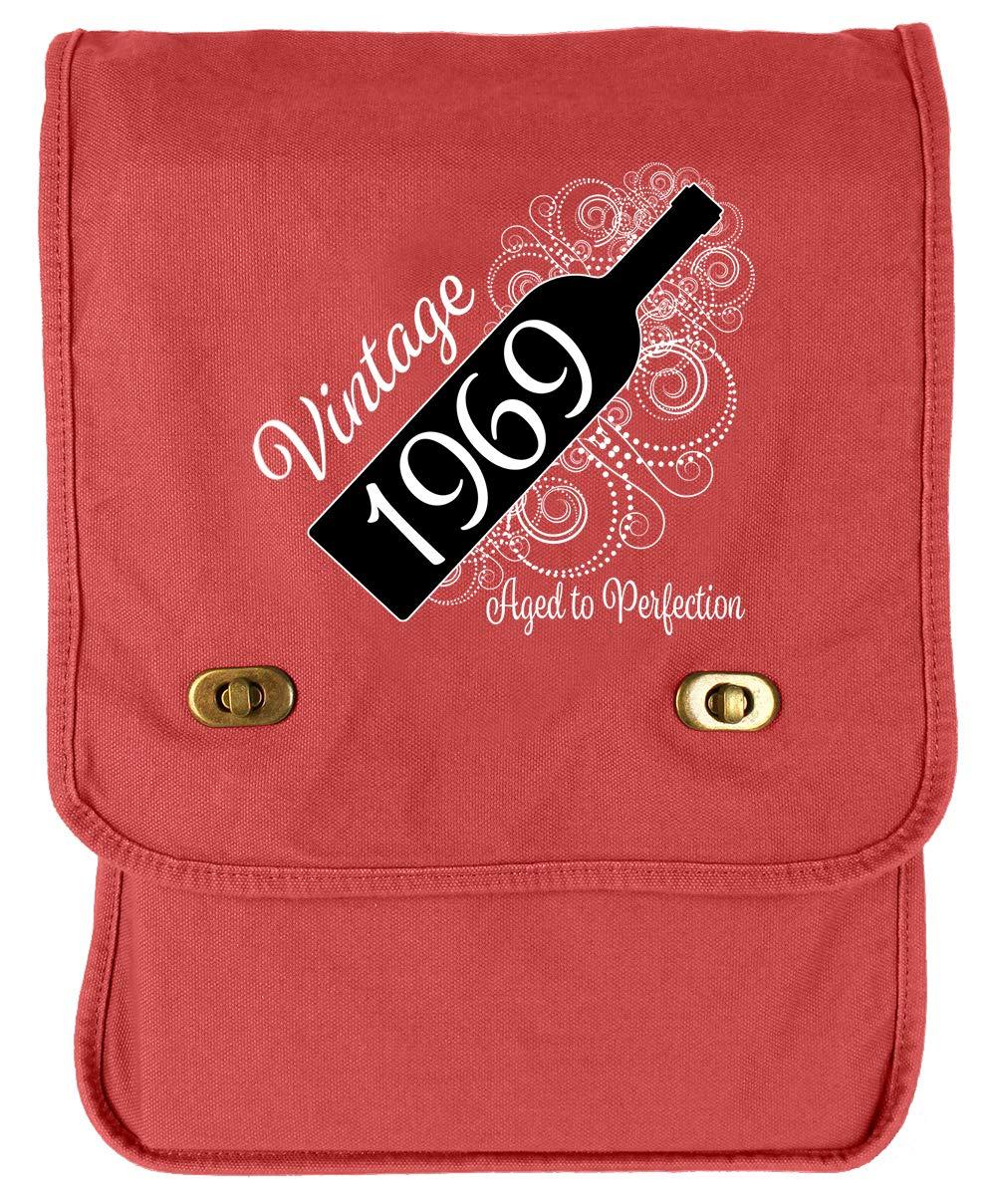 Aged Like a Fine Wine Flamingo Raw Edge Canvas Messenger Bag Tenacitee Born in 1969