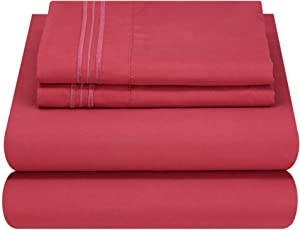 Mezzati Luxury Bed Sheet Set - Soft and Comfortable 1800 Prestige Collection - Brushed Microfiber Bedding (Burgundy, King Size)