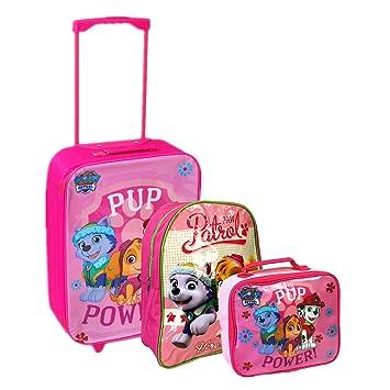Nickelodeon, Patrulla Canina - Juego de maleta con ruedas, mochila escolar y bolsa para el almuerzo, Rosa, Luggage: Amazon.es: Hogar