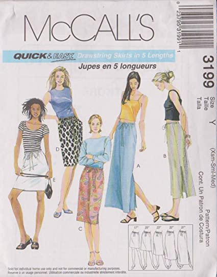 Amazon.com: Misses Drawstring Skirts In Five Lengths McCall\'s Sewing ...