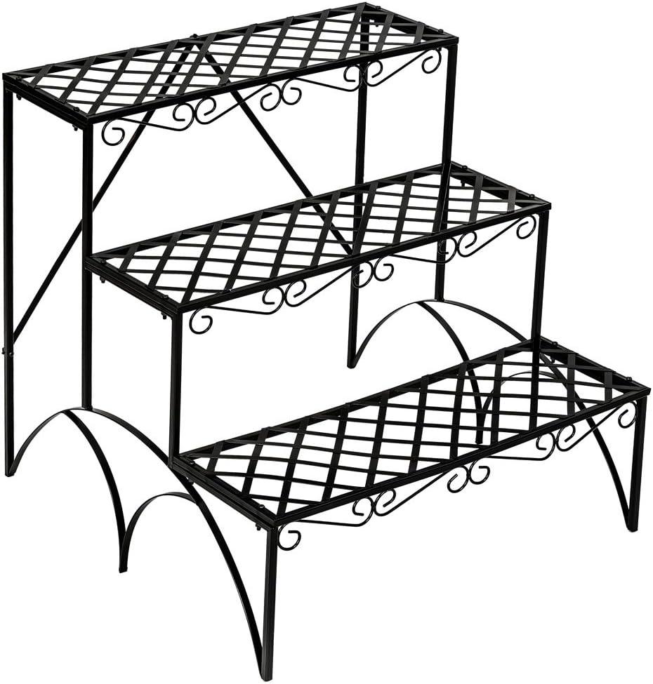 TecTake Estantes para Plantas Escalera metálica macetas Flores 3 Niveles - ca. 60x60x60cm - Carga máxima: Aprox. 30 kg - Varios Modelos - (Recta | no. 401711): Amazon.es: Jardín
