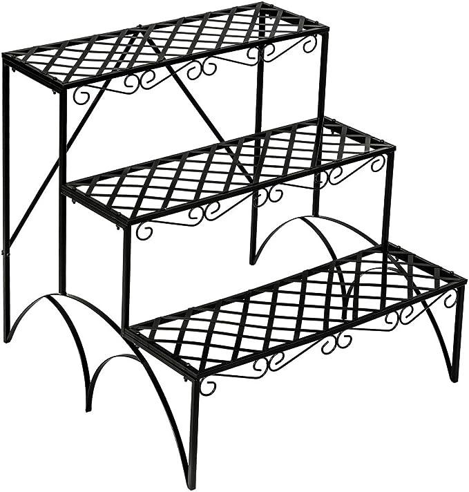 TecTake Estantes para Plantas Escalera metálica macetas Flores 3 Niveles - ca. 60x60x60cm - Carga máxima: Aprox. 30 kg - Varios Modelos - (Recta   no. 401711): Amazon.es: Jardín