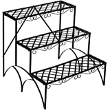 TecTake 3 TIER METAL GARDEN PLANT POT DISPLAY SHELF STAND FLOWER PATIO DECK IN- & OUTDOOR 60x60x60cm - max. load: 30kg