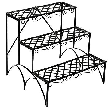 TecTake Etagère de jardin pour plantes escalier en fer 3 niveaux env ...