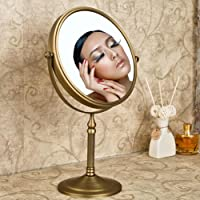 Weare Home Miroir cosmétique sur pied Assisi repliable Double-Face Grossissant Miroir de Maquillage en Laiton verre Set d'Accessoires de Salle de Bain Finition Laiton Antique Rétro Fixation Murale Rotation de 360 degrés Diamètre: 20CM