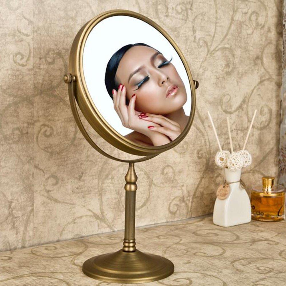 Leyden TM Antique Brass Tabletop 3x Magnification Vanity Makeup Bathroom Mirror