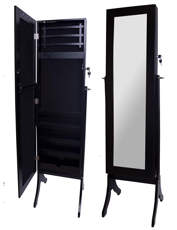 A68389 Wooden Floor Mirror Black Jewellery Box