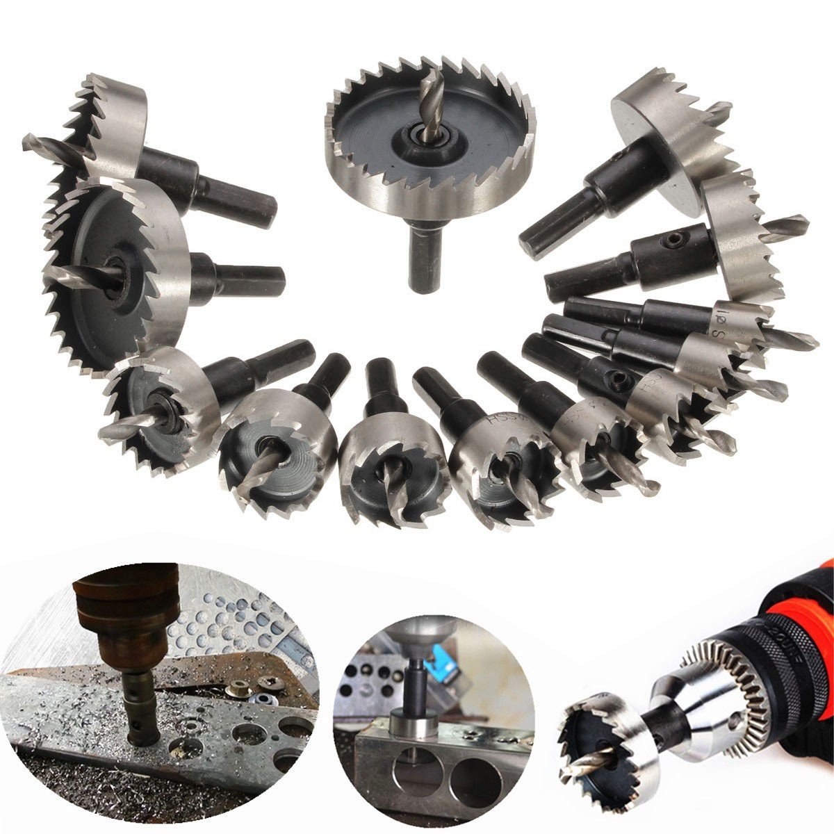 Drillpro Hole Saw Kit HSS Drill Bit Hole Saw Set for Stainless, Metal, Wood, Set of 13 Pcs, 5/8''- 2 1/9''