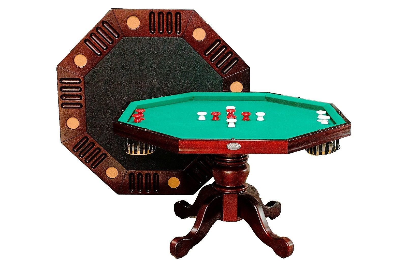 3 in 1 Game Table - Octagon 54'' Bumper Pool, Poker & Dining in Mahogany By Berner Billiards