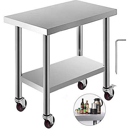 Brilliant Kitgarn Stainless Steel Catering Work Table 30X18 Inch With 4 Wheels Commercial Food Prep Workbench With Flexible Adjustment Shelf For Kitchen Prep Andrewgaddart Wooden Chair Designs For Living Room Andrewgaddartcom