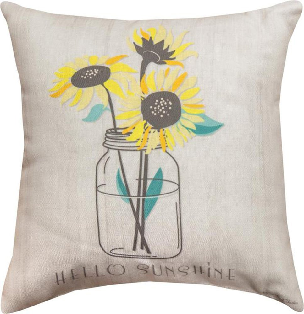 Manual Woodworkers Hello Sunshine Sunflowers in Jar 12 x 12 Inch Indoor Outdoor Throw Pillow