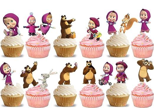 26 Masha y el oso cumpleaños Cup Cake Decoración comestible ...