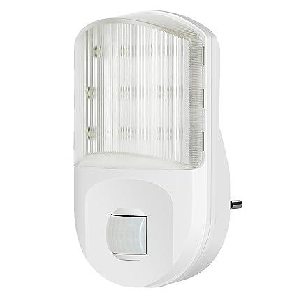 cinnx 9 ledes Luz nocturna Color Blanco, Luz Nocturna con Sensor de movimiento y sensor