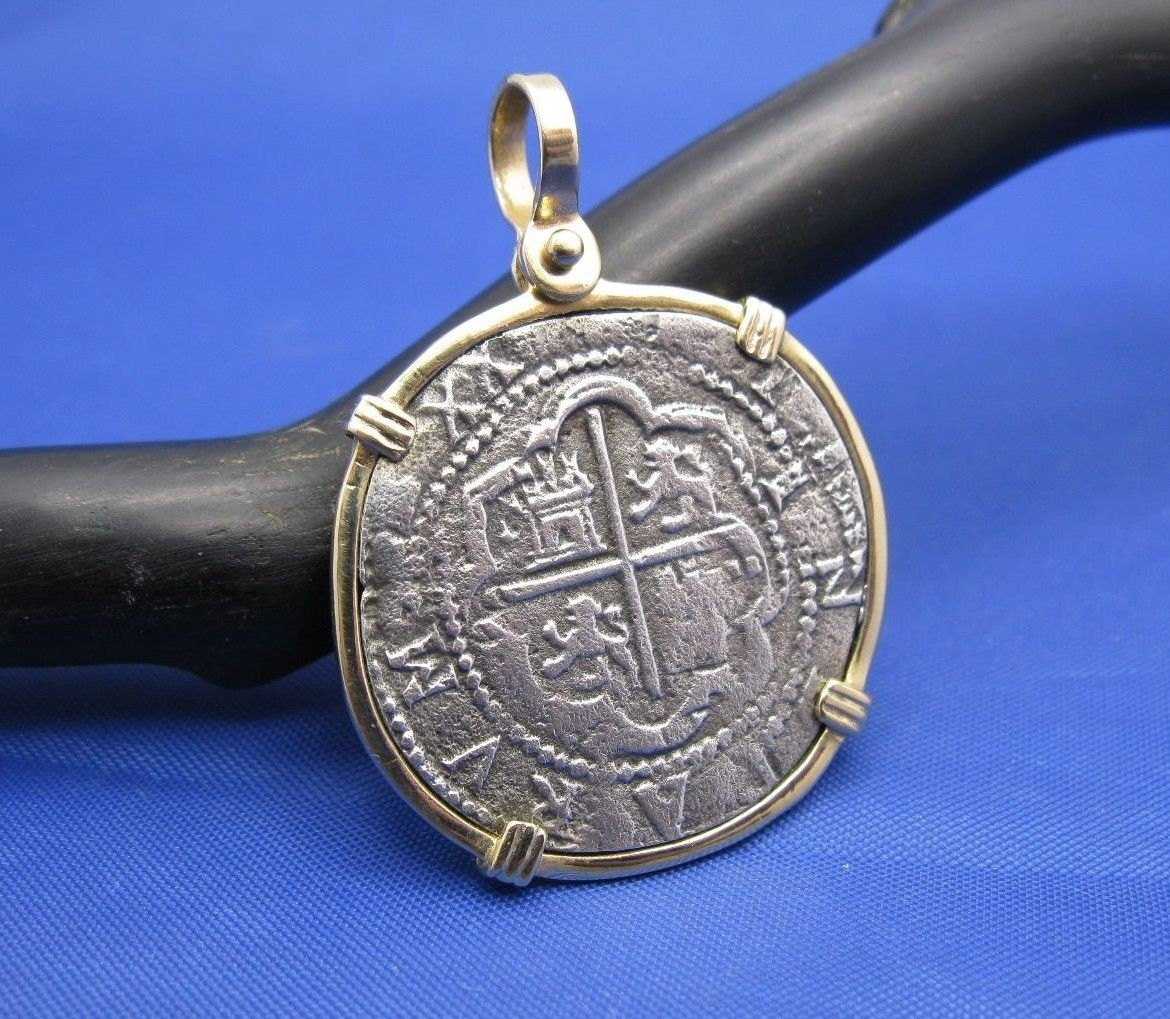 Large ''4 Reale'' Shipwreck Coin Reproduction inside 14k Solid Gold Pendant Bezel