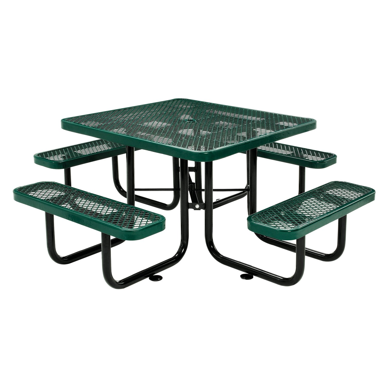 Global Industrial 46'' Expanded Metal Square Picnic Table, Green