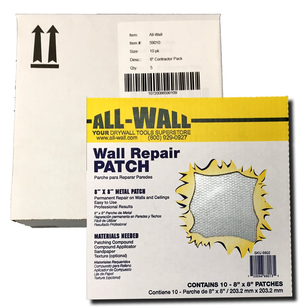 All-Wall Drywall Repair Patches - Metal Aluminum Stick-On Adhesive Wall Patch (8