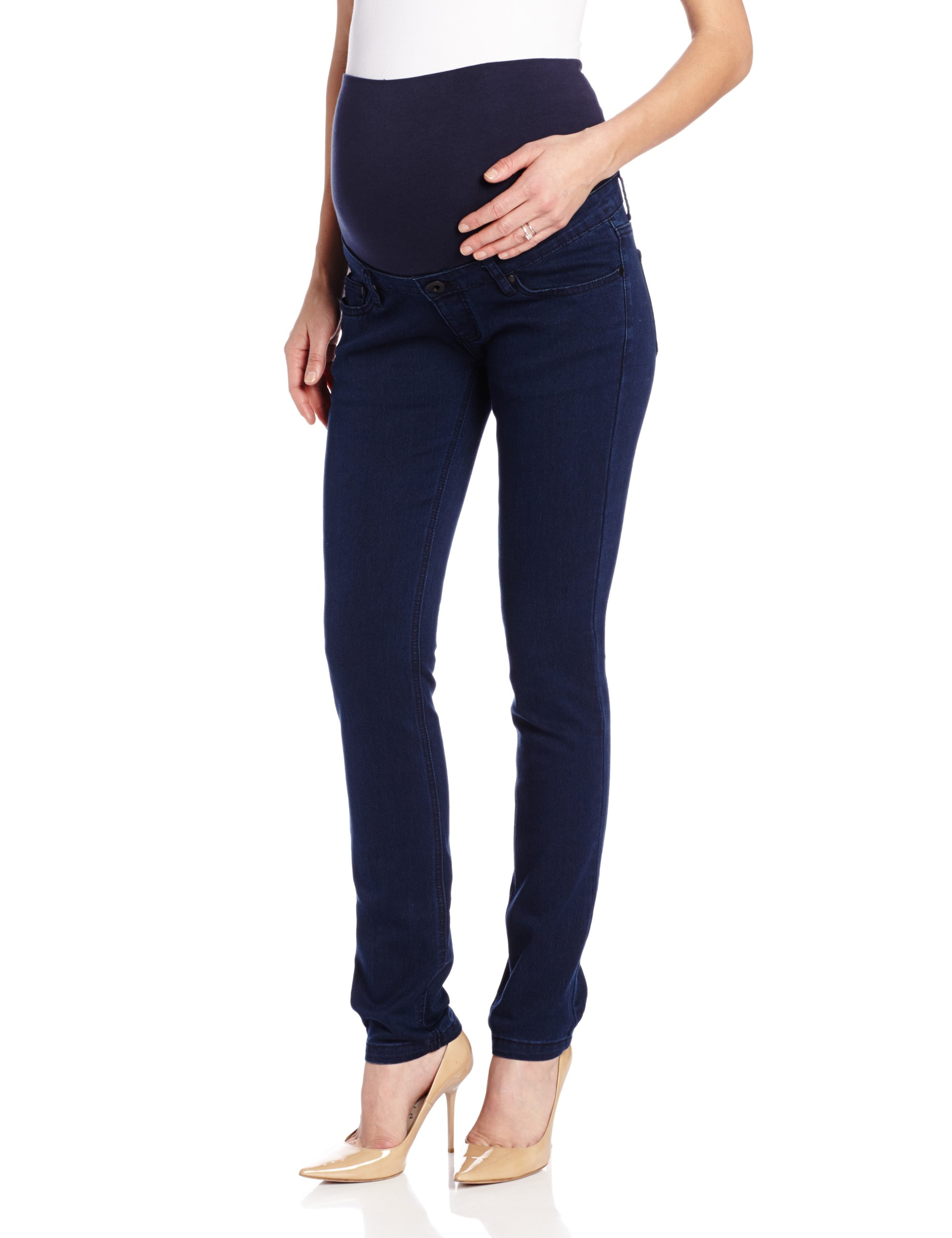 Ripe Maternity Women's Maternity Peggy Stretch Denim Skinny Jean,Blue,Small