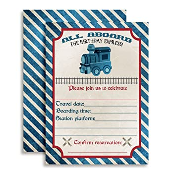 Vintage Train Birthday Party Invitations 20 5quotx7quot Fill In Cards With Twenty