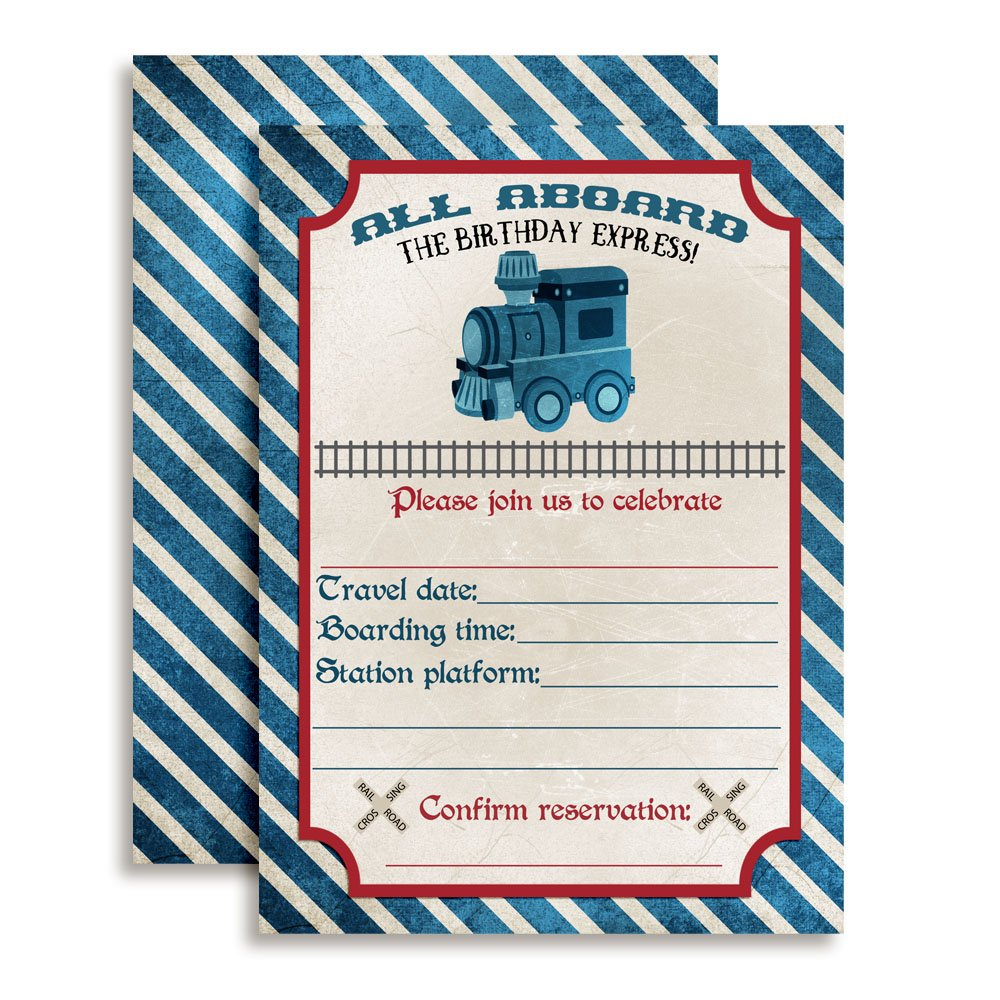 Vintage Train Birthday Party Invitations, 20 5''x7'' Fill In Cards with Twenty White Envelopes by AmandaCreation