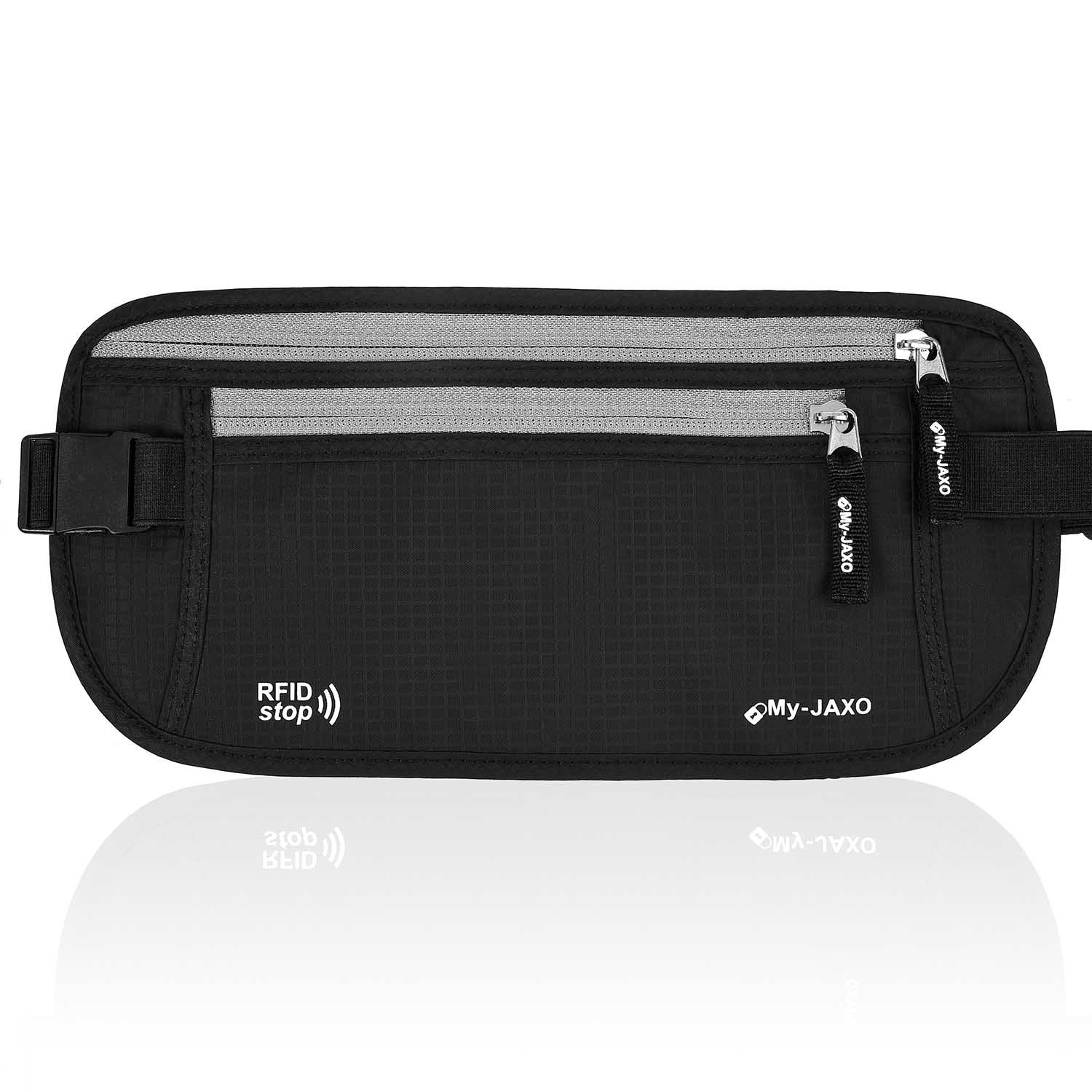 My-JAXO Premium Waist Belt Travel Safe Money Belt & Passport Holder with RFID Blocking Technology Prevents Electronic Pickpocketing and Theft Black or Grey