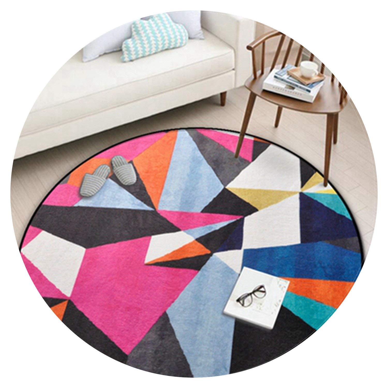 15MM Colorful Geometric Blocks Printed Round Carpet Entrance Doormat Porch Bathroom Mat Anti-Slip Wear-Resisting Kitchen Rugs,5,Diameter 100CM