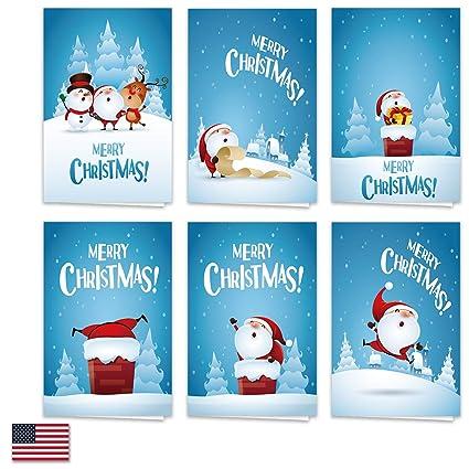 Merry Christmas Card.Toodro 36 Pack Cute Cartoon Merry Christmas Cards 6 Design And 6 Of Each Design With 36 White Envelopes