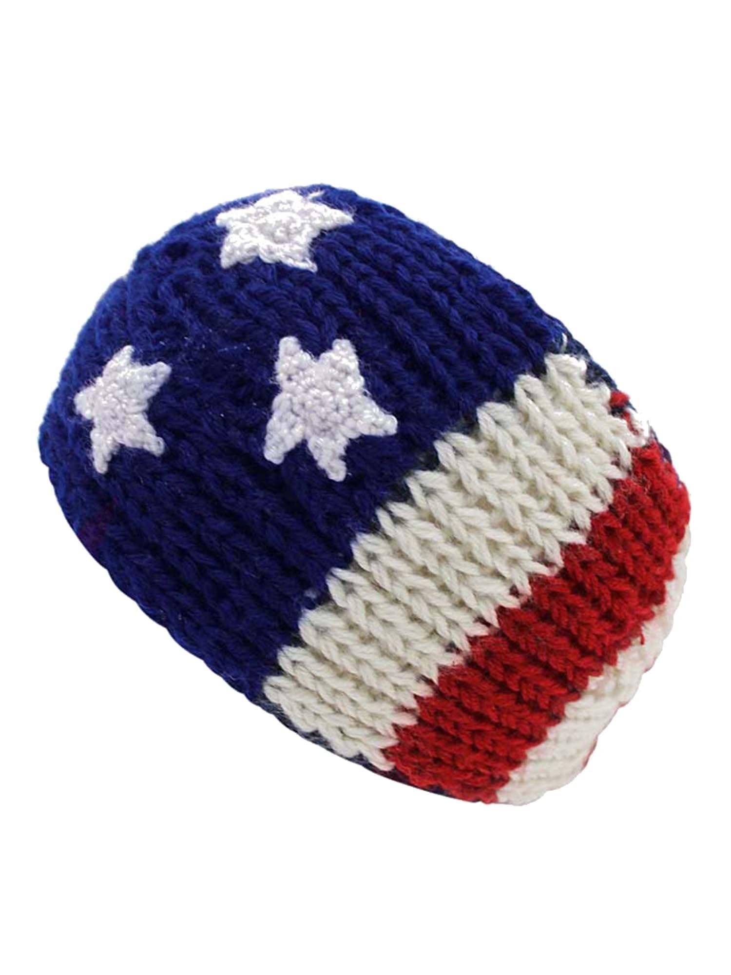 Winter Knit American Flag Red White Blue Headband