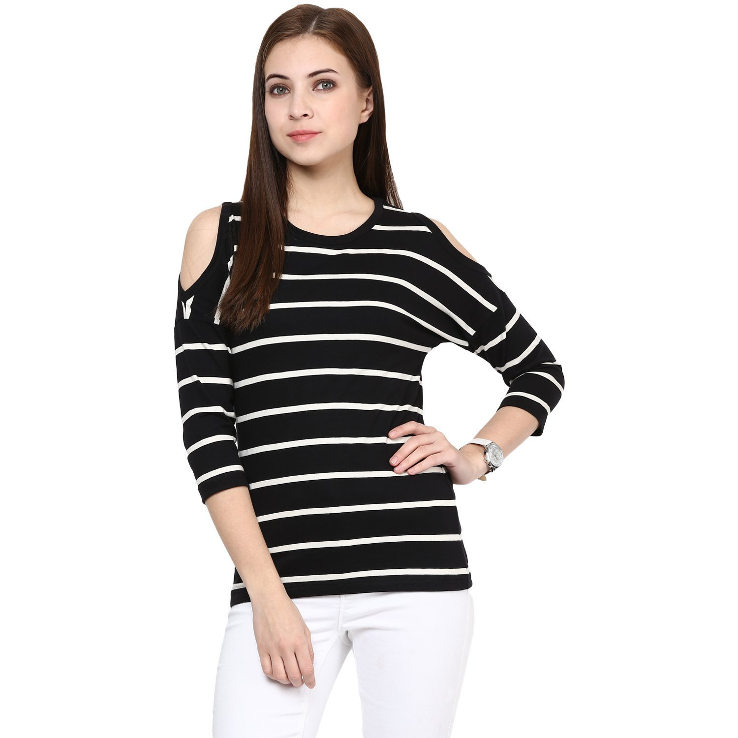 Hypernation Black and White Stripe Round Neck Cotton T-shirt For Women:  Amazon.in: Clothing & Accessories