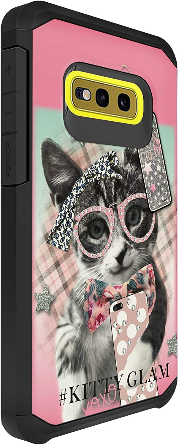 TurtleArmor | Compatible with Samsung Galaxy S10e Case | S10 Lite Case | G970 | Slim Armor Hard Dual Layer Hybrid Case Girls - Hipster Cat
