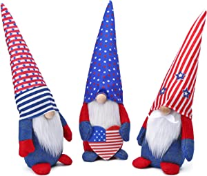 Gnome Plush Patriotic with American Flag Decorations, Veterans Fourth of July Independence Day Figurine, Handmade Elf Spring Summer Holiday Kitchen Ornaments Set of 3