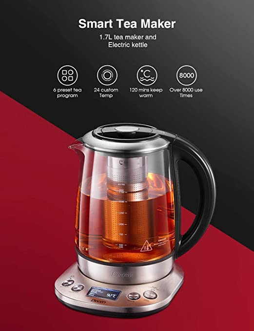 Decen Kettle Glass Temperature Adjustment 40 100 Degrees 1 7 Litres 2200 Watt Keep Warm Function Tea Maker With Temperature Display 100 Bpa Free Amazon Co Uk Kitchen Home