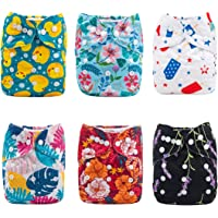 ALVABABY Cloth Diaper Reuseable Washable Adustable Pocket Newborn Infant Toddler for Baby Boys and Girls 6 Pack with 12 Inserts Inserts Setting Gift 6DM25