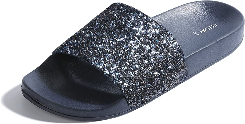 FITORY Ladies Sliders Glitter Sparkly