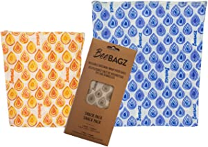 Beeswax Wrap Storage Bag by BeeBAGZ, Reusable Food Storage Bags, Pack of 2, Plastic Free Biodegradable Food Wrap Alternative, Snack Pack, 1 Small + 1 Medium, (Multicolors)